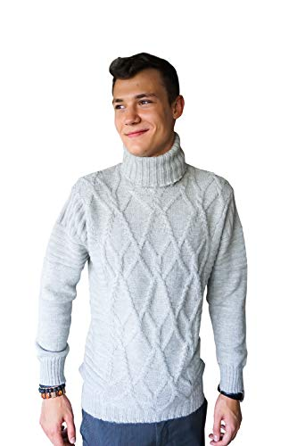 Cashmere Boutique: Men's Cable Turtleneck Sweater in 100% Pure Baby Alpaca (Color: Faded Pewter, Size: Medium) ()