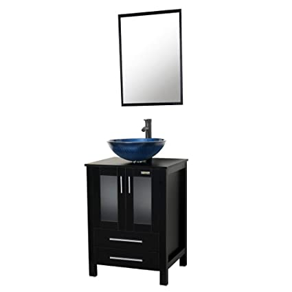 U Eway 24 Bathroom Vanity Vessel Sink Combo Tempered Glass Sink Bowl 1 5 GPM Faucet Oil Rubbed Bronze Bathroom Vanity Sink Combo Hot Melt Technology