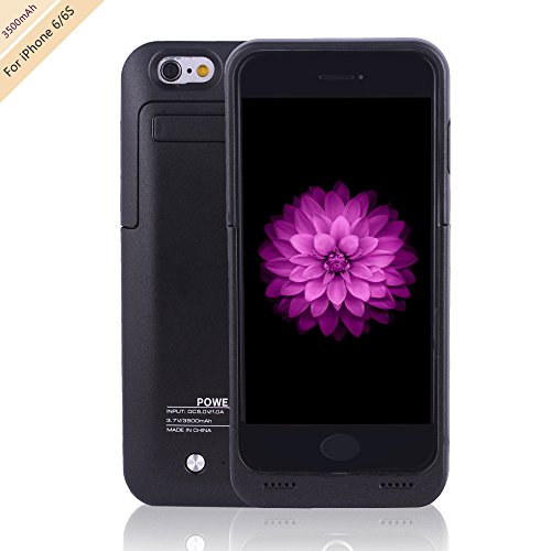 for iPhone 6/6s Charger Case, BSWHW 3500mAh 4.7 iPhone 6/6S Portable Battery Case with Battery Pack Rechargeable Power Protection case Backup Juice Bank (Silverblack, 3500-M)