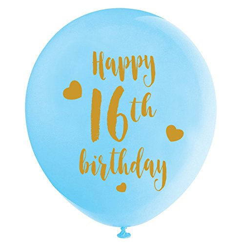 Blue 16th Birthday Latex Balloons, 12inch (16pcs) Boy Gold Happy 16th Birthday Party Decorations -