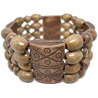 BeeShop(TM) M1041 Fashion Jewelry 4 Rows Oval Wooden Bead Chain Stretch Bangle Bracelet