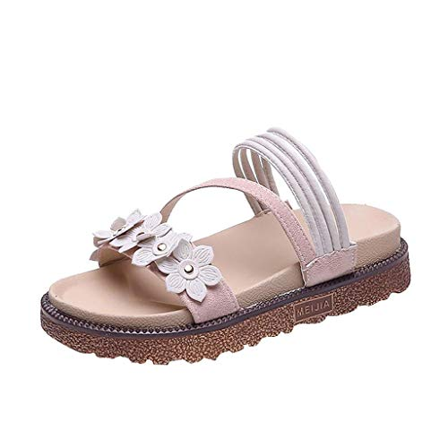 HHei_K Summer Bohemia Flower Flat-Heeled Peep Toe Sandals Casual Ladies Slippers,Shoes for Women Flats Comfortable Pink]()