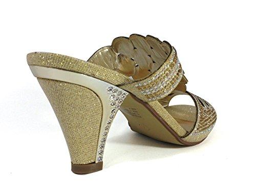 Enzo Romeo Kinmi23new Delle Donne Classiche Eleganti Sandali Basso Medio Sandali Strass Piattaforma Di Partito Di Nozze Open Toe Scarpe Con Zeppa Oro