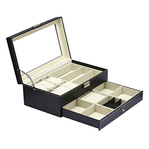 nake Jewelry Box Watch Sunglasses Box Multi-Function Three-in-one Drawer 2 Layer Female Youth Tray Storage Box Earrings Ring Necklace Bracelet Jewelry Box PU Leather Black with Lock