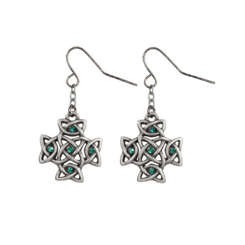 (Celtic Cross with Green Crystal Pewter Earrings Jewelry- Mystica Collection)