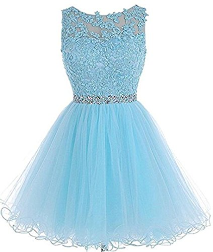 Henglizh Homecoming Dresses A Line Scoop Tulle Prom Dresses Lace Beaded Cocktail Dress