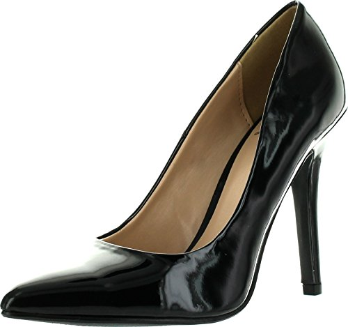 Delicious Women's Cindy Pointy Toe Velvet Single Sole Classic Pump Black Patent 9 Black Patent Pointed Toe Pump