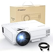 Projector Crosstour HD Video Projector 1080P Supported for Home Theater Entertainment 55,000 Hours LED Life Compatible with HDMI/VGA/TF/AV/USB (Upgrade)