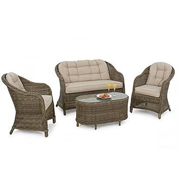 Dorset Muebles de jardín de mimbre redondeadas respaldo alto ...