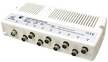 HQ - Amplificador de antena de TV con ocho salidas (16 dB)