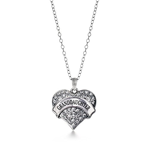 Inspired Necklace Silver Heart (Inspired Silver Granddaughter Pave Heart Necklace Clear Cystal Rhinestones)