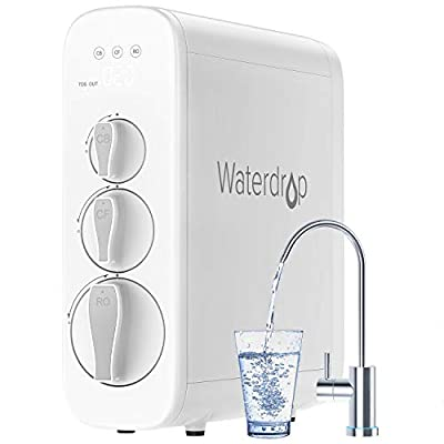 Waterdrop Reverse Osmosis Water Filtration System, 400 GPD Fast Flow, Tankless Design, Smart Faucet, 1: 1 Drain Ratio, LED Screen for Visible Water Quality, USA Tech Support