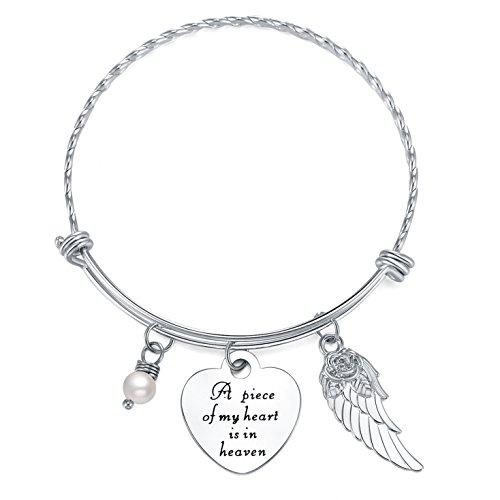 ELOI Memorial Bracelet A Piece of My Heart Is in Heaven Pendant Jewelry In Memory of Mom Dad Grandpa Baby Loss Memorial Gift