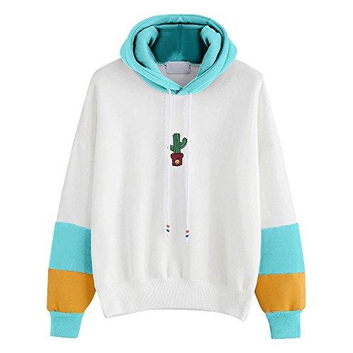 HGWXX7 Women Hoodie Sweatshirt Cactus Print Long Sleeve Tops Blouse Hooded Pullover(L,Sky Blue)