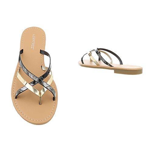Ital-Design Zapatos Para Mujer Sandalias de Vestir Tacón Ancho Sandalias de Dedo Gold Negro PM907-12