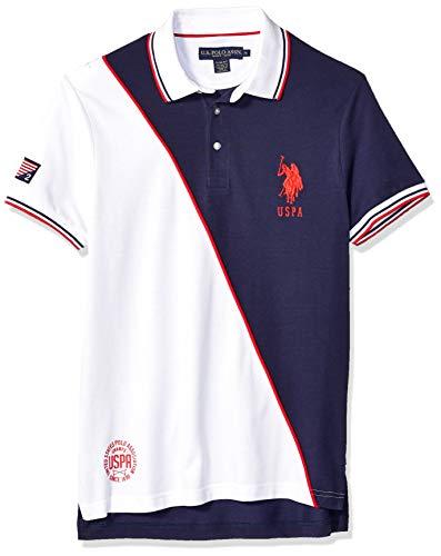 U.S. Polo Assn. Men's Slim Fit Diagonal Color Block Polo Shirt, Classic Navy, M