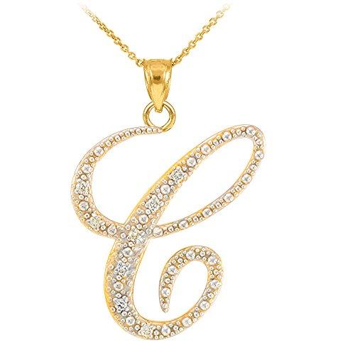 14k Yellow Gold Diamond Script Initial Letter C Pendant Necklace