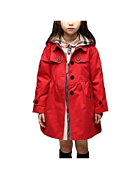 Baby Girls Plaid Jackets Coats Princess Trench Coats Hoodie