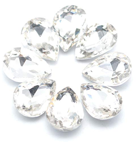 (Catotrem Glass Teardrop Crystal Resin Rhinestone Pointback Faceted Jewelry Making DIY Craft10x14mm(80pcs-White))