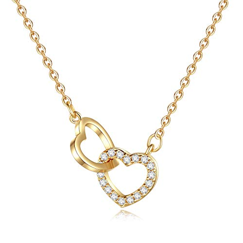 CZ Heart Necklace for Women Gifts - 14K Gold Filled Two CZ Gold Heart Pendant Necklace for Women Girls, Dainty Hear Necklace Best Inspirational Gifts Birthday Gifts for Women Girls