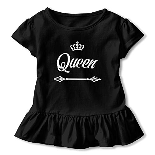 Lookjufjiii80 Toddler Girl Queen Crown Short Sleeve Dress Ruffle T Shirts Tops Tee Clothes Black -