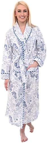 Alexander Del Rossa Women's Lightweight Cotton Kimono Robe, Printed Summer Bathrobe