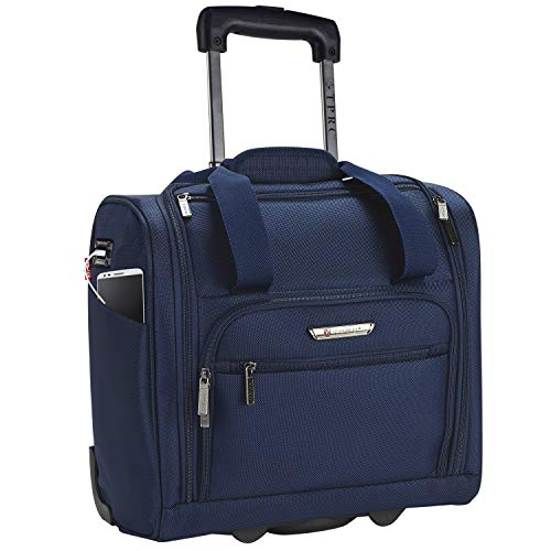 TPRC 15 Smart Under Seat Carry-On Luggage with USB Charging Port, Navy Blue Option