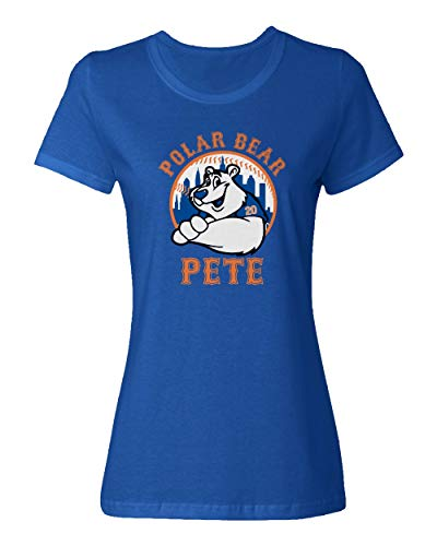 (SMARTZONE New York Fans Alonso Polar Bear Pete Baseball Ladies Crewneck T-Shirt (Royal, X-Large))