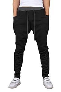 OXYVAN Men's Jogging Pants Elastic Waist Running Sweatpants Harem Trousers(Black, Large)