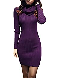 Women Cowl Neck Knit Stretchable Elasticity Long Sleeve...