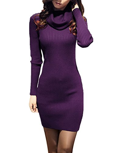 - v28 Women Cowl Neck Knit Stretchable Elasticity Long Sleeve Slim Fit Sweater Dress (18-22,Purple)
