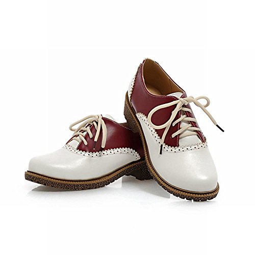 Carol Shoes Womens Fashion Lace-up Assorted Colors Retro Low Heel Oxfords Shoes Deep Red BvphtA7Ku