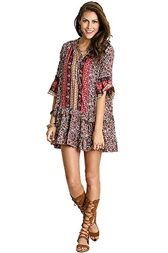 Umgee Womens Printed Mini Bell Baby Doll Boho Peasant Dress Top 3/4 sleeve (M, MOCHA / PINK (Baby Doll Peasant Top)