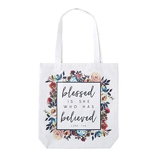 Blessed Is She Who Has Believed Tote - Religious Christian Tote Bag