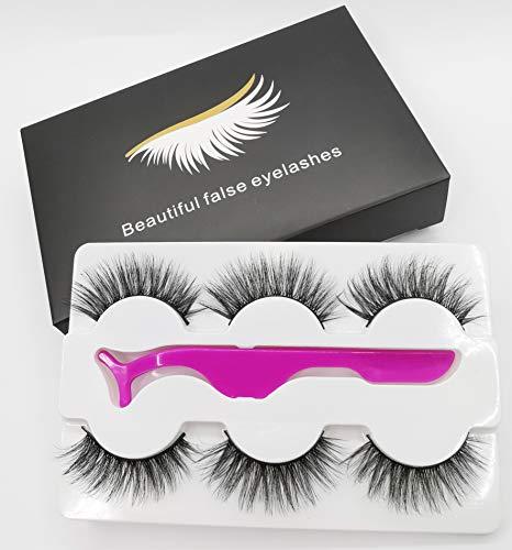 HH&LL False Eyelashes Styles Face Lashes Handmade Faux Mink Fake Eyelashes, 3 Pairs Soft, Reusable and Comfortable Eye Lashes with Eyelash Tweezers (FE03-01)