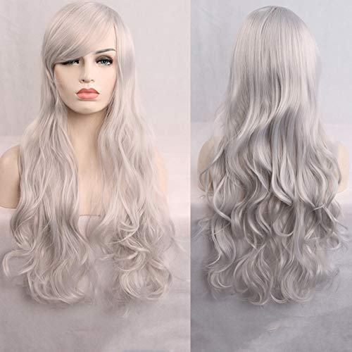 Women's Wig Long Natural Curly Wavy Premium Heat Resistant Synthetic Hair Wig Cosplay Fancy Dress Party Halloween Costume Hairpiece Black,Silver -