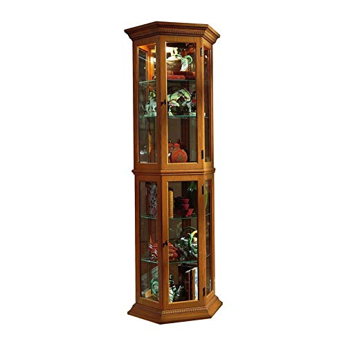 Home Fare English Oak Trapezoid Mirrored Curio by Home Fare