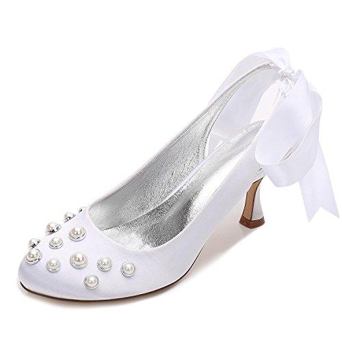 Talons Perle E17061 À Mariage Et Mesure Elegant De White Mariée 20 sur High D'été Shoes Pour Chaussures Femmes Satin Hauts xxCgqO