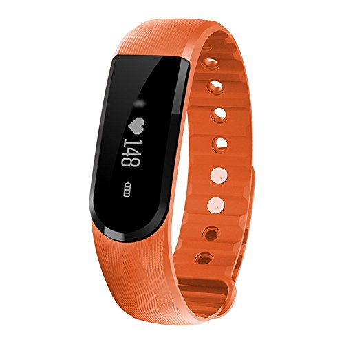 Music Control Heart Rate Monitor - VERTTEE Smart Bracelet Bluetooth Touch Screen Fitness Tracker Activity Tracker Wristband Call Reminder for IOS Android Orange
