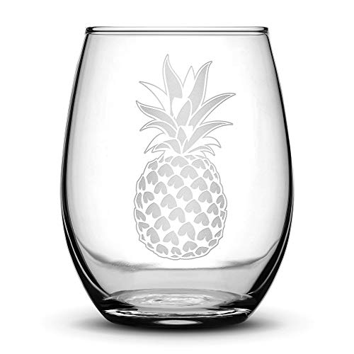 Pineapple Stemless Wine Glass, Hand Etched 14.2 oz Unique Gifts, Made in USA, Sand Carved by Integrity Bottles