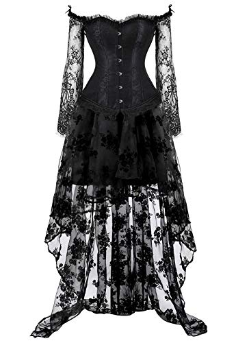 Corsets for Women's Princess Renaissance Corset Lace Ruched Sleeves Overbust Top 6XL Black Suits]()