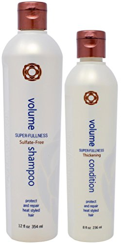 Thermafuse Volume Shampoo and Conditioner Set (8 Oz Conditioner/12 Oz Shampoo) Body Building, Volumizing, Repairing, Weightless, Nourishing For Short, Medium, Long, Thin, Thinning, Fine Hair, Vegan