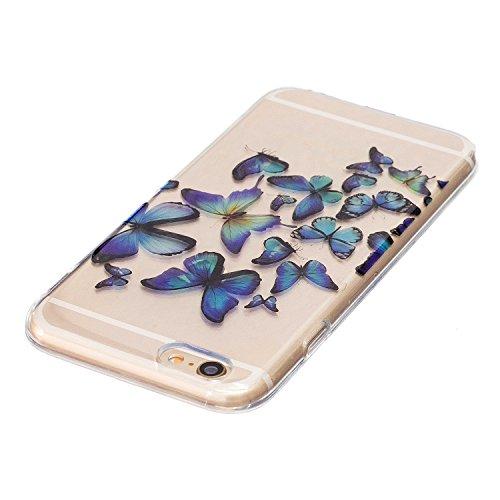 iPhone 6 / 6S Plus Coque , Leiai Mode Papillon Transparent Ultra-mince Silicone Doux TPU-PC Housse Gel Etui Case Cover pour Apple iPhone 6 / 6S Plus