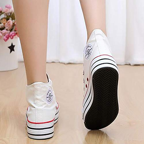 A Lona Para Blanco Clásicos Mujer Zapatos color Cordones D Gruesos Fondo Pequeños Con Encaje 35 De Tamaño Ewet Verano Muffin 0EnRaXqg0