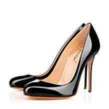 Nancy Jayjii Formal Shoes for Women Round Toe High Heel Slip-on Genuine Leather Pumps