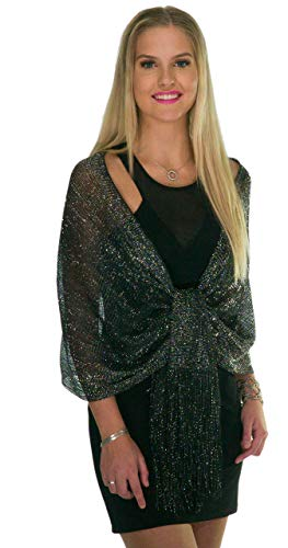 Shawls and Wraps for Evening Dresses, Metallic Sparkle Womens Wedding Black Silver Shawl