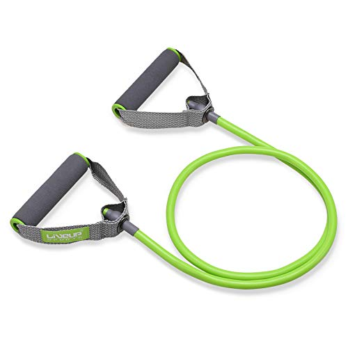 - Liveup SPORTS Toning Tube Resistance Bands/Cord Pulley TPR Foam for Exercise Fitness Pilates Strength Training with Foam Handles Green
