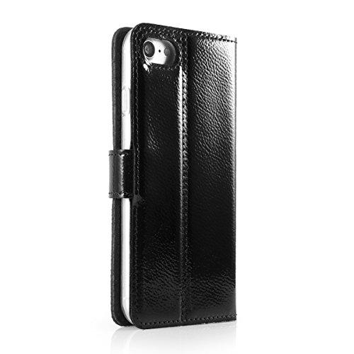 Ferro Black - Premium Vintage Ledertasche Schutzhülle Wallet Case aus Echtesleder Nubukleder mit Kreditkarten / Notizen Fachern Farbe Schwarz von Surazo® Ferro Kollektion für Sony Xperia XA1 (5,00 Zol