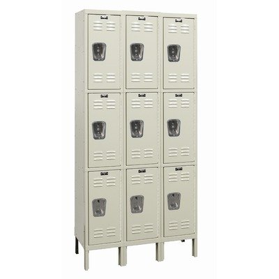 Hallowell U3228-3G-PT / U3258-3G-PT / U3288-3G-PT Galvanite Three Wide Triple Tier Locker in Parchment (Unassembled) Size: 78