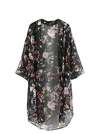 Bluetime Women's 3/4 Sleeve Floral High Low Chiffon Kimono Cardigan Blouse (M, Black)